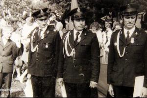 50 lat OSP Rozmierka. Rok 1971. Od lewej: Paweł Krupa, Franciszek Długosz, Antoni Długosz (1937 - 2007)