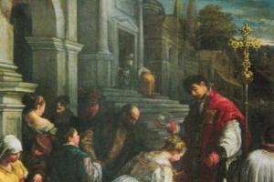 Św. Walenty udziela chrztu św. Lucylii - obraz Jacopo Bassano z 1575 roku