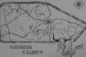 Hrabstwo Bandera. Rysunek N.J. Anderwalda z 1986 roku
